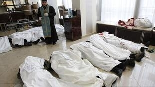 Отпевание участников протеста, погибших в Киеве 20/02/2014