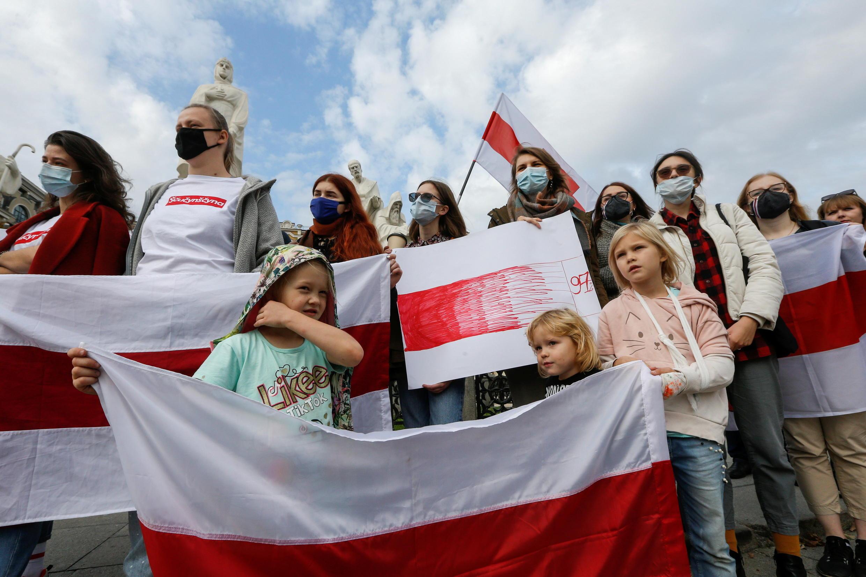 Акция солидарности с протестующими в Беларуси прошла в Киеве