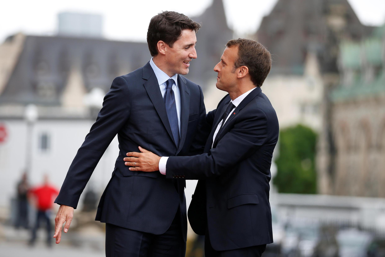 Премьер-министр Канады Джастин Трюдо и президент Франции Эмманюэль Макрон в Оттаве, 6 июня 2018.