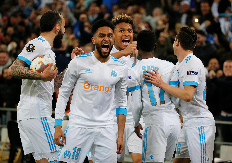 Os festejos dos jogadores do Marselha.