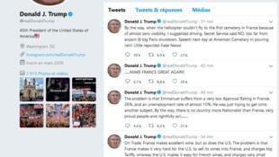 Une série de tweets écrits par le président américain au sujet de l'Iran, le 21 juin 2019.