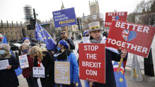 Manifestantes anti-Brexit y pro-EU sostienen pancartas frente al Parlamento de Londres, Reino Unido, el 9 de diciembre de 2020
