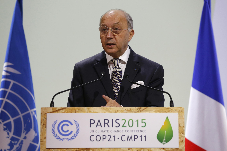 Le président de la COP21, Laurent Fabius, le 10 décembre  2015.