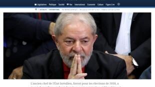 Matéria sobre a condenação do ex-presidente Luiz Inácio Lula da Silva no jornal Le Figaro desta sexta-feira (14).