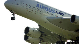 A double-decker Airbus A380 taking off on its maiden flight from Toulouse-Blagnac airport on 27 April 2005.