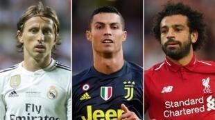 Hotunan Luka Modric, Cristiano Ronaldo tare da Mohamed Salah, 'yan wasan da hukumar UEFA za ta tantance gwarzonta na nahiyar Turai a kakar wasa ta bara.