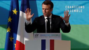 Shugaban Faransa Emmanuel Macron, yayin jawabin bayyana anniyar rufe cibiyoyin nukiliyar kasar 14