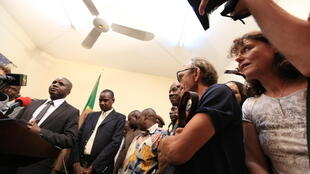 Ghislaine Dupont and Claude Verlon, July 30 2013 at a press conference in Mali.