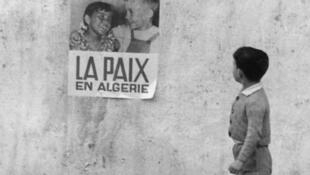 A poster calling for peace in Algeria which shows a boy and a girl of seemingly different ethnic groups happily interacting