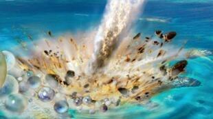 Reconstrucción - Colisión del asteroide Chicxulub y expulsión de gotas fundida (tectitas) fuera del cráter