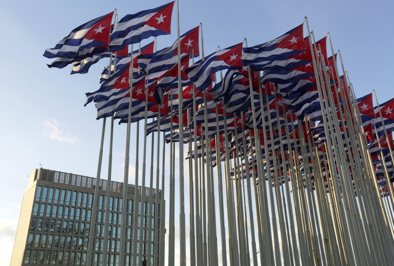 Phía trước cơ quan đại diện quyền lợi Mỹ tại La Habana, Cuba (ảnh chụp ngày 30/12/2014)
