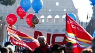 Manifestación en Roma, este 12 de diciembre de 2014.
