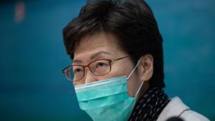 香港特首林鄭月娥28日傍晚戴口罩開記者會              2020年1月