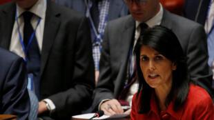 Đại sứ Mỹ tại Liên Hiệp Quốc Nikki Haley, trong một phiên họp khẩn ngày 05/07/2017 về Bắc Triều Tiên.