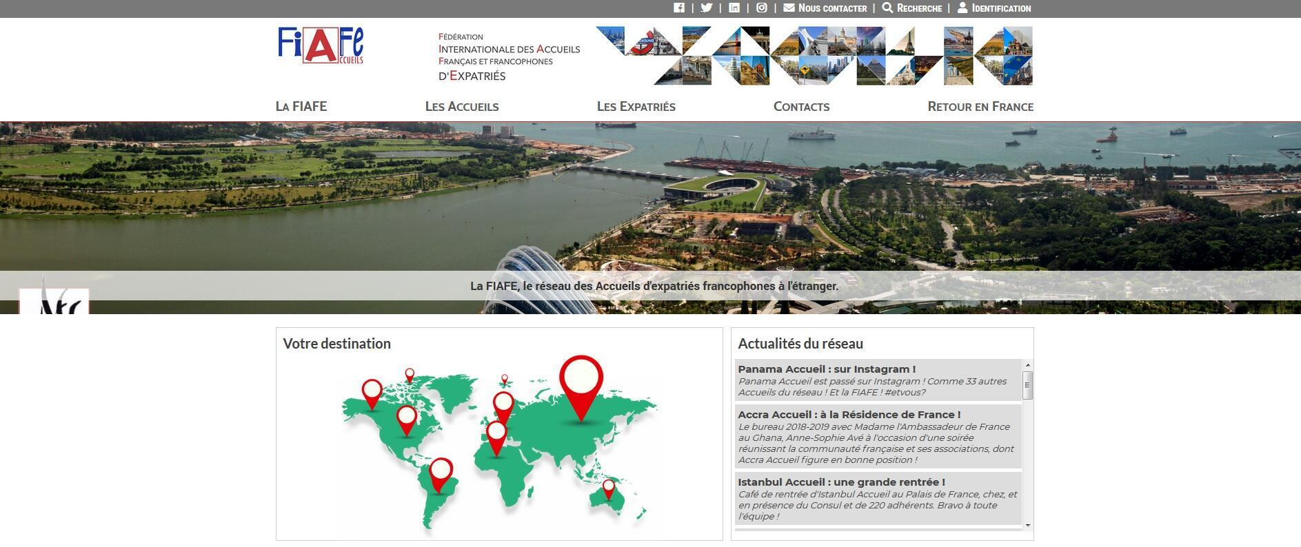 La page d'accueil du site internet de la fédération internationale des accueils de Français et francophones expatriés, le 14 octobre 2018.