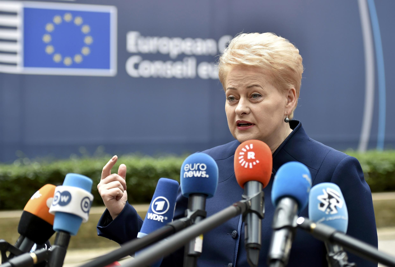 លោកស្រីប្រធានាធិបតីលីទុយអានី Dalia Grybauskaite ក្នុងទីក្រុងព្រុចសែលថ្ងៃទី២៨ មិថុនា ២០១៦