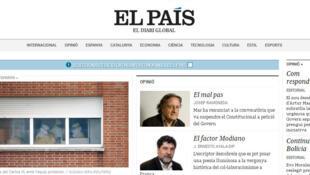 Le journal espagnol «El Pais» a lancé sa version catalane. Ici, une capture d'écran du site internet Elpais.cat.