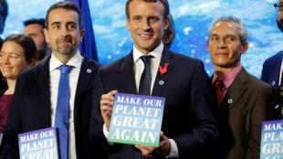 Emmanuel Macron durante la cumbre One Planet, en París, el 12 de diciembre de 2017.