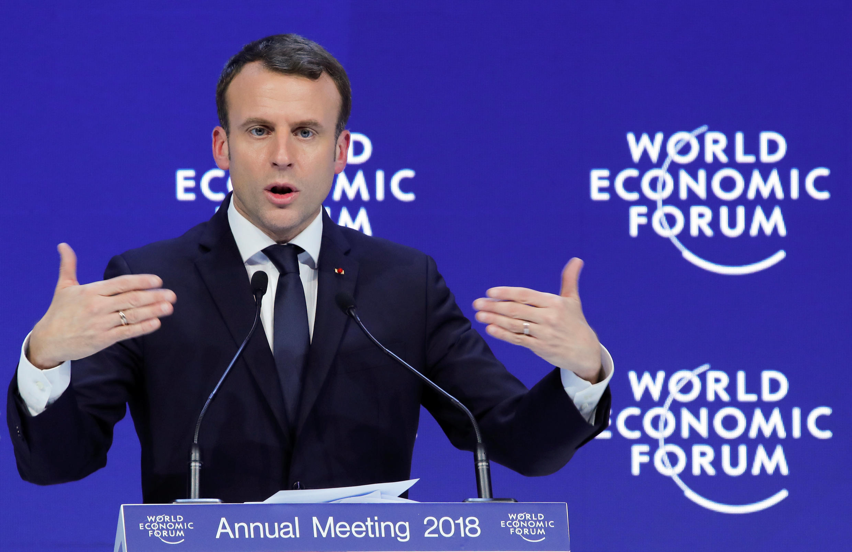 Rais wa Ufaransa Emmanuel Macron, Davos Januari 24, 2018.