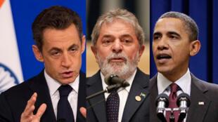 Le président français, Nicolas Sarkozy (G), le président brésilien, Luiz Inacio Lula da Silva (C), le président américain, Barack Obama.
