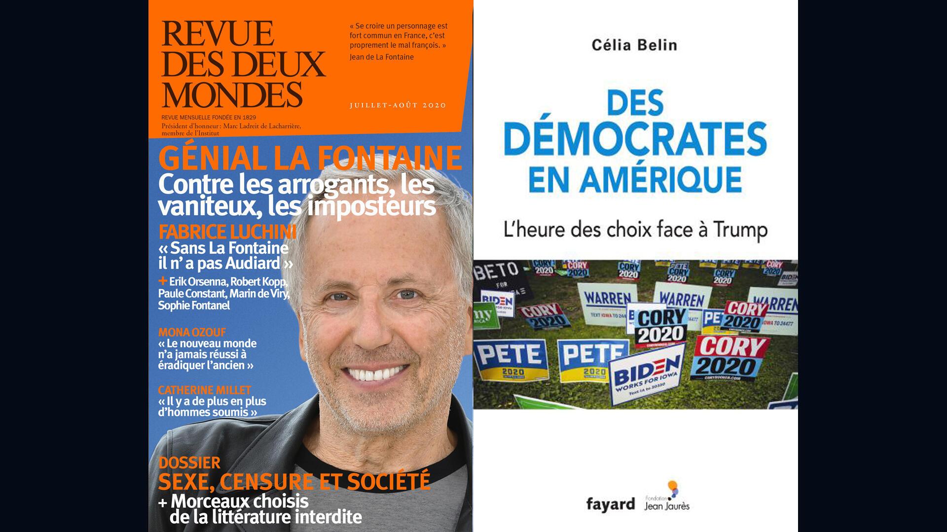 Couvertures de «Revue des deux mondes», numéro de juillet août 2020 et «Des démocrates en Amérique, l'heure des choix face à Trump», de Célia Belin.