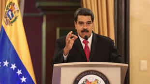 Shugaba Nicolas Maduro na Venezuela ke jawabi a Caracas.