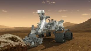 Смоделированное изображение ровера Curiosity на поверхности Марса