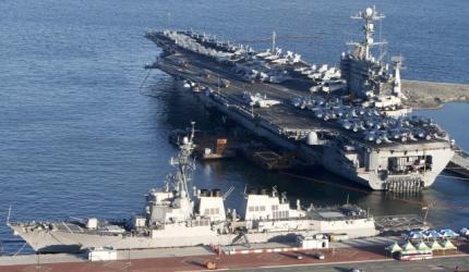 美國華盛頓號航空母艦。圖片攝於2010年7月21日韓國釜山附近水域。