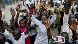 Des supporters de Muhammadu Buhari laisse éclater leur joie à Kano, le 31 mars 2015.