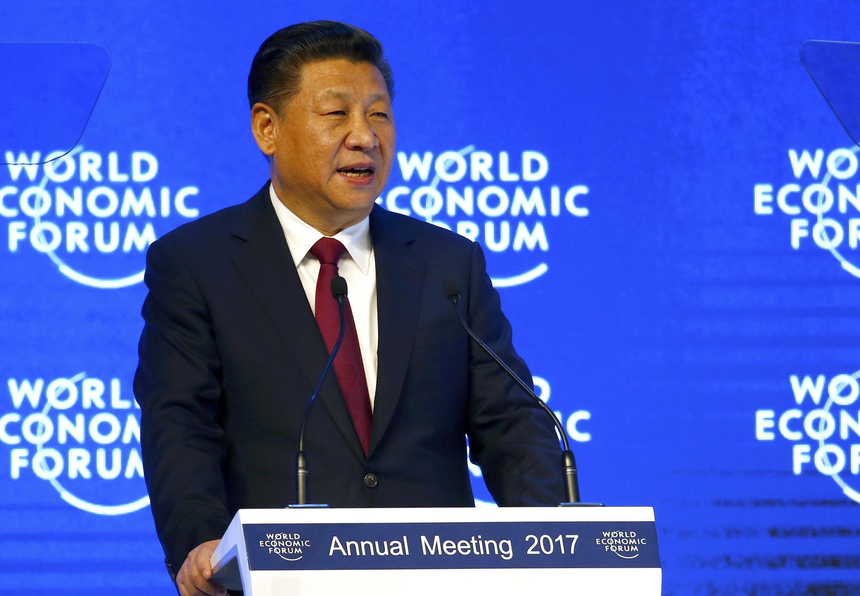 圖為中國國家主席習近平2017年在達沃斯發表演說