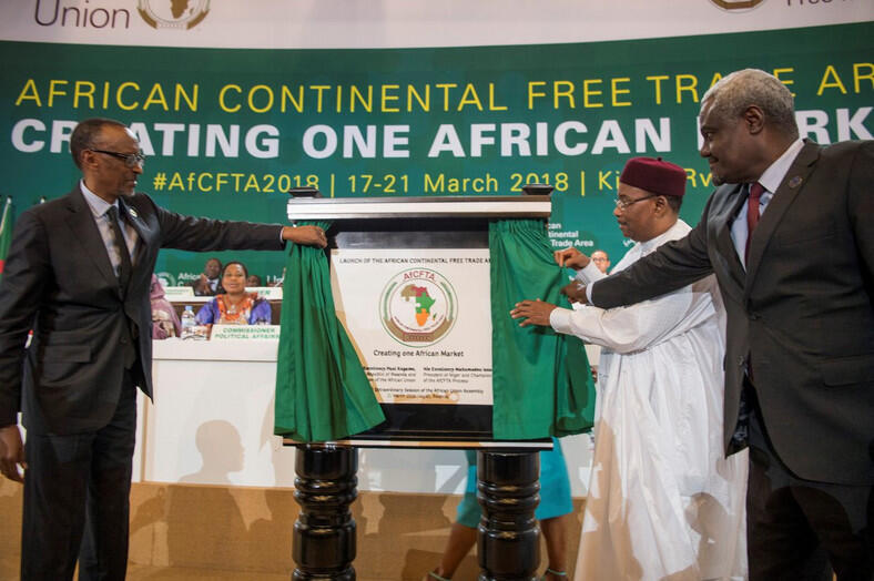 African leaders at the Economic Commission for Africa launching the African Continental Free Trade Area agreement (AfCFTA) at a summit in Niamey, Niger 7th July 2019