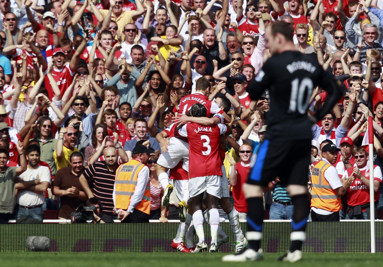 La déception de Wayne Rooney lors du but encaissé par Manchester United contre Arsenal (1-0), le 1er mai 2011.