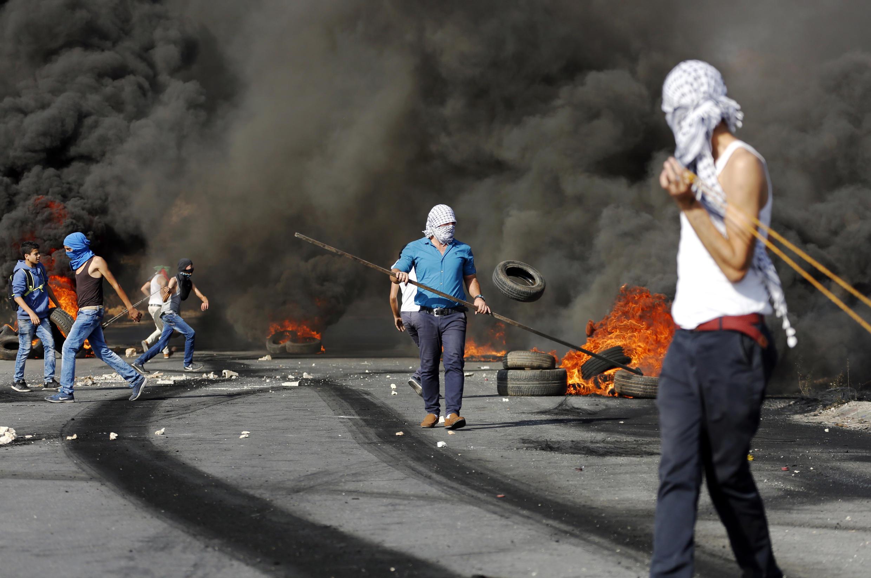 Confrontos entre palestinianos e israelitas.