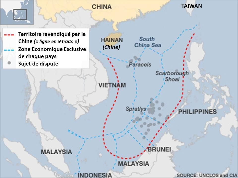 """Đòi hỏi chủ quyền của Trung Quốc trong phạm vi đường 9 đoạn  (còn gọi là """"đường lưỡi bò"""") tại Biển Đông bị Tòa Trọng Tài Thường Trực tại La Haye bác bỏ trong phán quyết năm 2016 về vụ kiện của Philippines."""