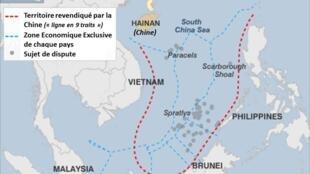 """Trung Quốc đòi hỏi chủ quyền trên một khu vực gần chiếm trọn Biển Đông. Trong ảnh, yêu sách đường 9 đoạn của Trung Quốc, còn gọi là """"đường lưỡi bò""""."""