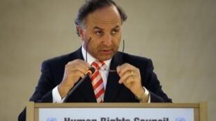 Teodoro Ribera, le ministre de la Justice du Chili à Genève, le 27 février 2012.
