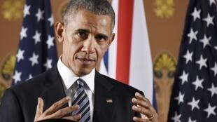 Barack Obama, lors d'une conférence de presse en Grande-Bretagne.