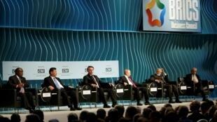 金砖峰会:南非总统拉马福萨 中国主席习近平 巴西总统博尔索纳罗 俄总统普京和印度总理莫迪2019年11月13日巴西利亚