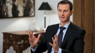 O presidente sírio Bashar al-Assad durante a entrevista em Damasco para a AFP, em 11 de fevereiro de 2016.
