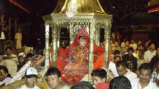 "Kumari ""the living goddess"" on the eve of the indrajatra festival"