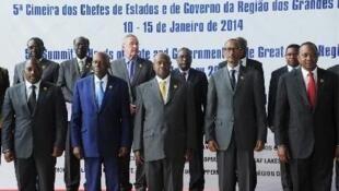 Chefes de Estado presentes na Cimeira  da Conferência Internacional dos Grandes Lagos