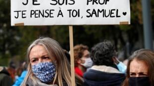 Hommage à Samuel Paty à Paris, place de la République, dimanche 18 octobre.