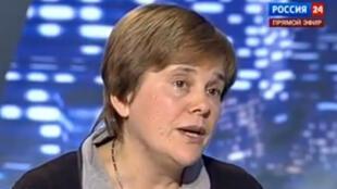 Ирина Прохорова во время теледебатов с Никитой Михалковым на канале Россия24
