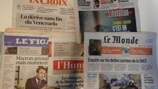 Primeiras páginas dos jornais franceses de 13 de abril de 2018