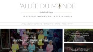 Page d'accueil du blog de Gabrielle Narcy «L'Allée du monde».