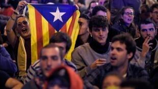 西班牙加泰罗尼亚独派示威者