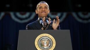 Barack Obama phát biểu sau khi tái dấc cử (REUTERS /Jason Reed)