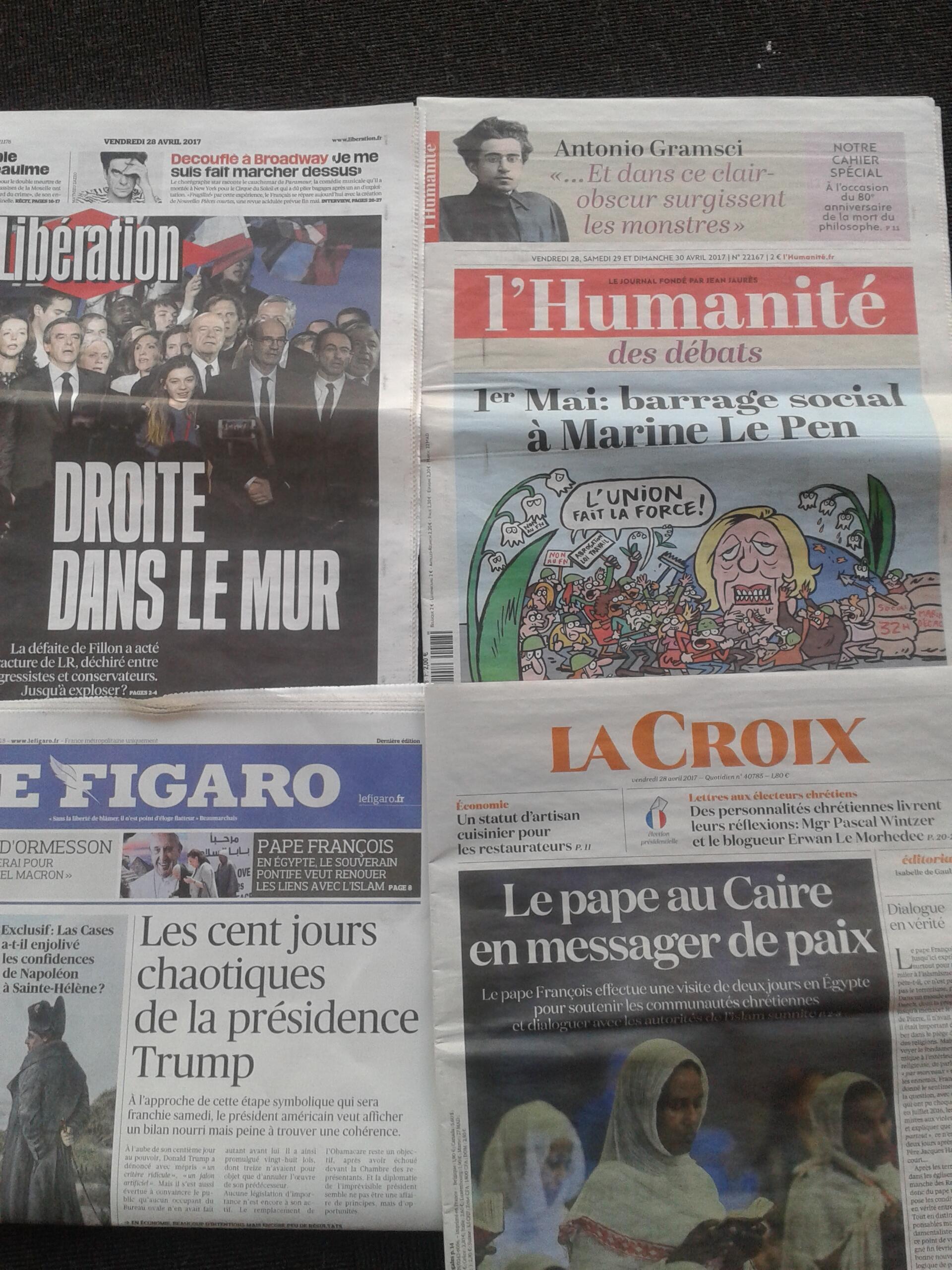 Diários franceses do dia 28.4.2017