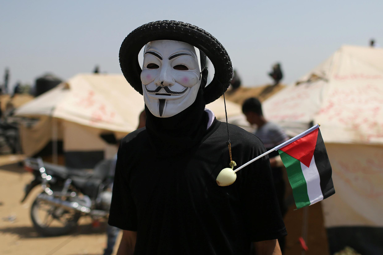 Homme masqué à Gaza lors de la Grande marche pour le retour du 6 avril 2018.
