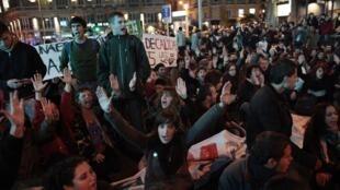 Manifestación del movimiento de los indignados en Madrid.